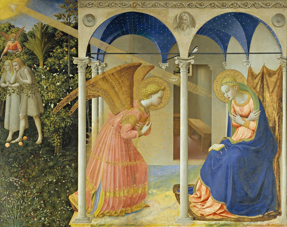 The Annunciation  By Fra Angelico - Based on same source tiles as File:La Anunciación, by Fra Angelico, from Prado in Google Earth.jpg but cropped. JPEG compression quality Photoshop 9., Public Domain, https://commons.wikimedia.org/w/index.php?curid=15262356