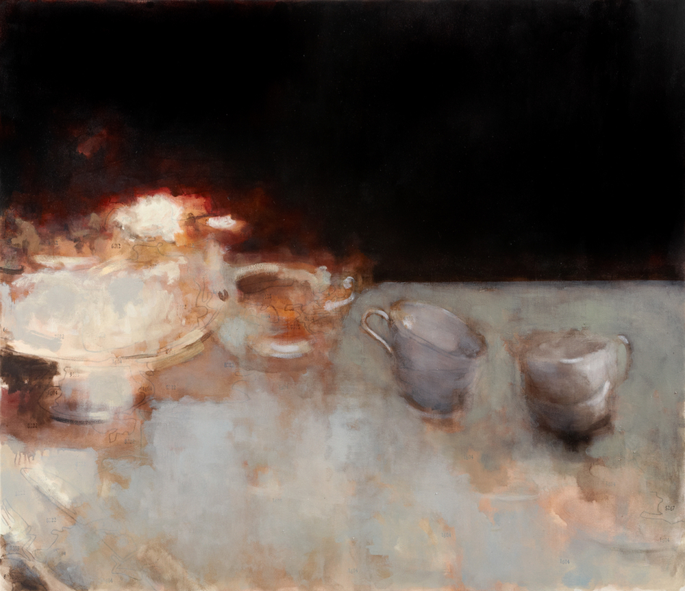 Dinner and a War.      o il on canvas.  2007.  60 x 54""