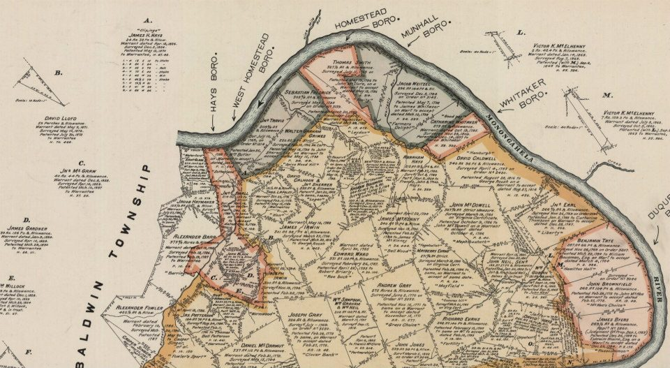 Map of early Homestead, PA. Notice Abraham Hays plot in the center-area of the map.