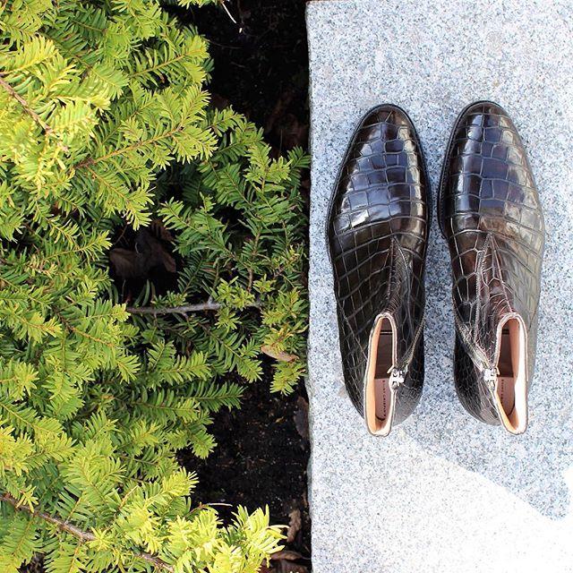 Crocodile Zip Boots from Saint Crispins  @saintcrispins #skomakerdagestad #crocodileboots #crocboots #mtoshoes #crocodileshoes #crocodileleather #bespoke