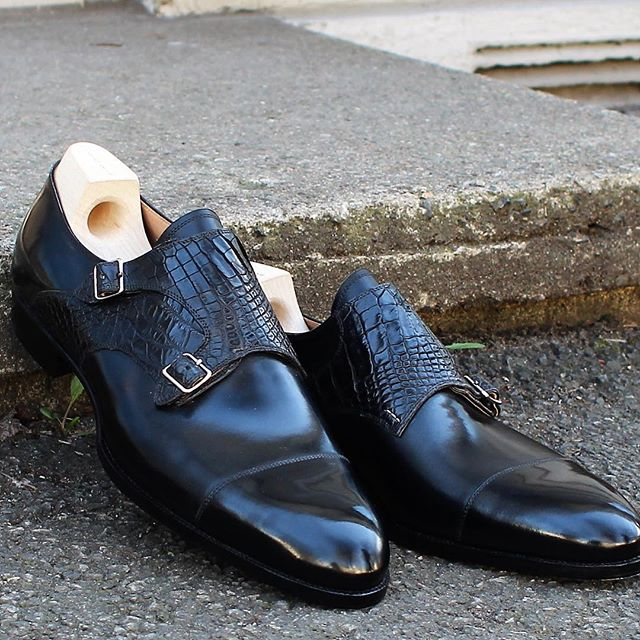 Another Black/Black Croc/Calf combo; this time on a capped double monk. @saintcrispins #skomakerdagestad #dagestad #doublemonks #mtoshoes #mto #crocodileleather #croc #oslo #norway