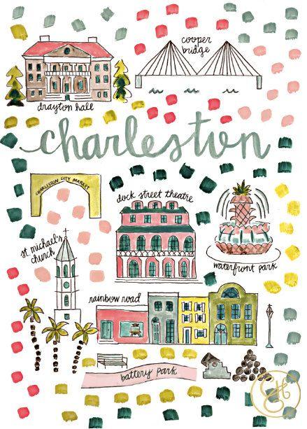 Charleston South Carolina Map by Evenlyn Henson