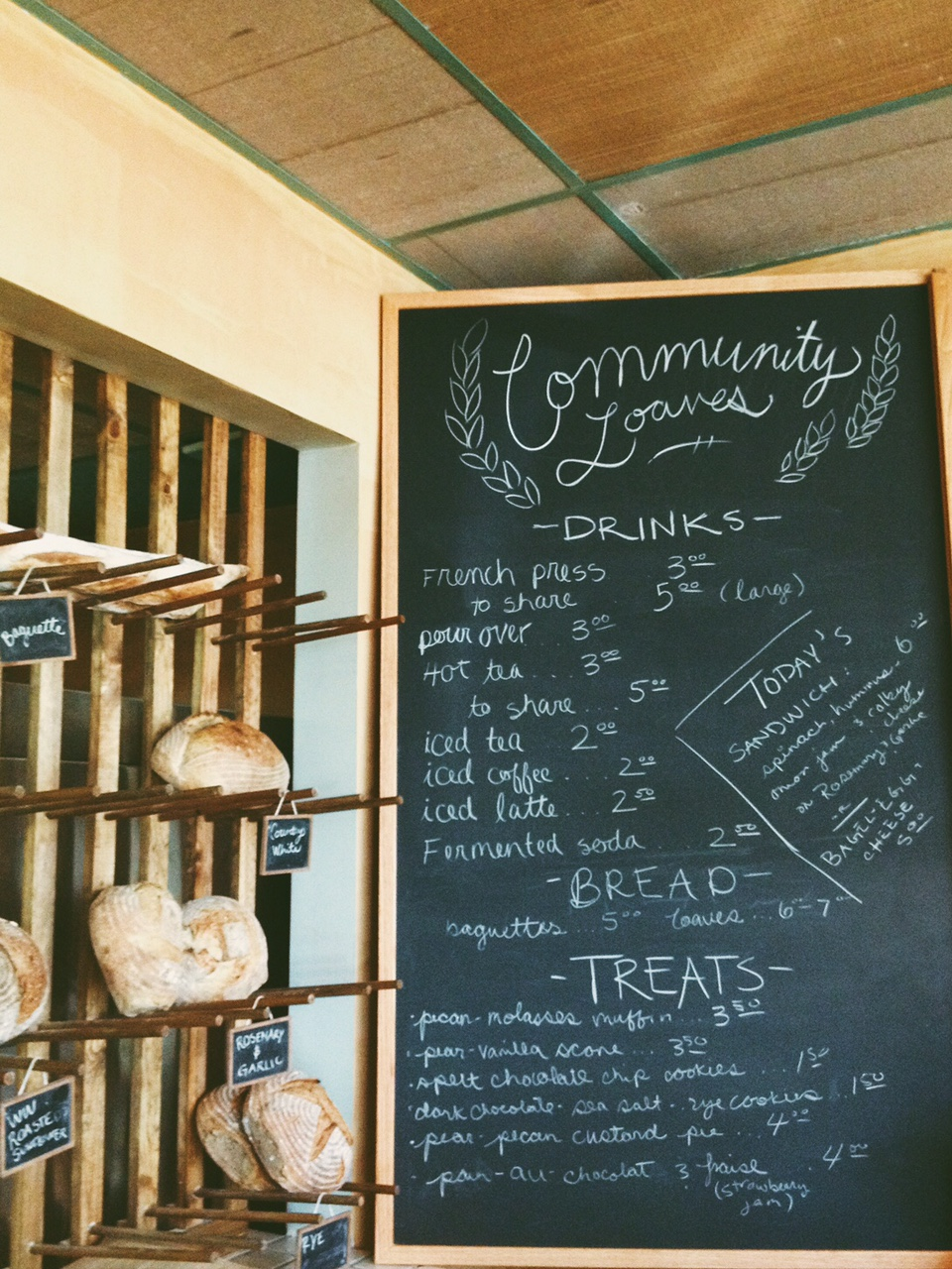Community Loaves Menu