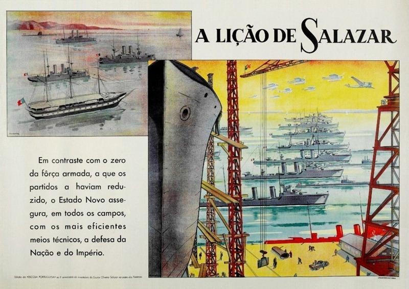 """""""A Lição de Salazar: Restauração das Forças Armadas""""  (""""Salazar's Lesson: Restoration of the Armed Forces"""") Poster: Emérico Nunes, 1938"""