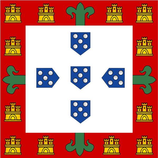 The flag of the Portuguese Youth, based on the Banner-of-Arms of King John I of Portugal.