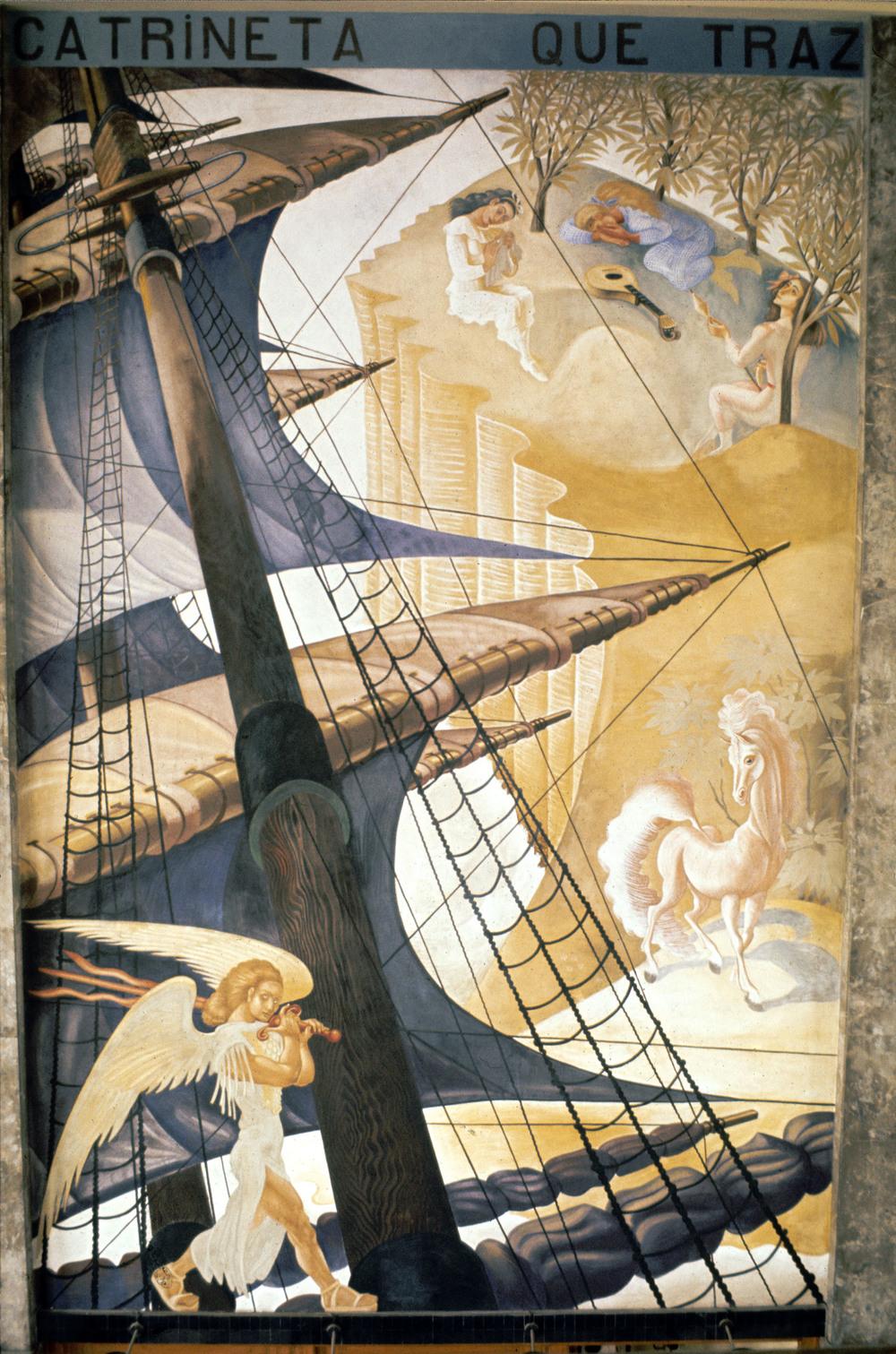 """""""Lá vem a nau  Catrineta  que traz muito que contar"""" (""""Here comes the ship  Catrineta  that brings much to tell"""") Artist: José de Almada Negreiros   Photo: Mário Novais, ca. 1943-1945, Lisbon  [CFT003_098024]"""