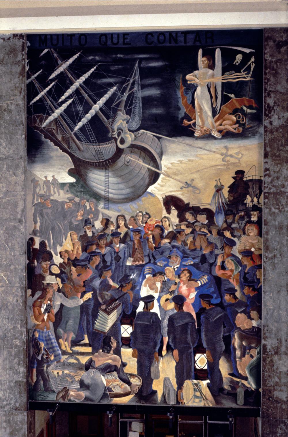"""""""Lá vem a nau  Catrineta  que traz muito que contar"""" (""""Here comes the ship  Catrineta  that brings much to tell"""") Artist: José de Almada Negreiros   Photo: Mário Novais, ca. 1943-1945, Lisbon  [CFT003_098030]"""