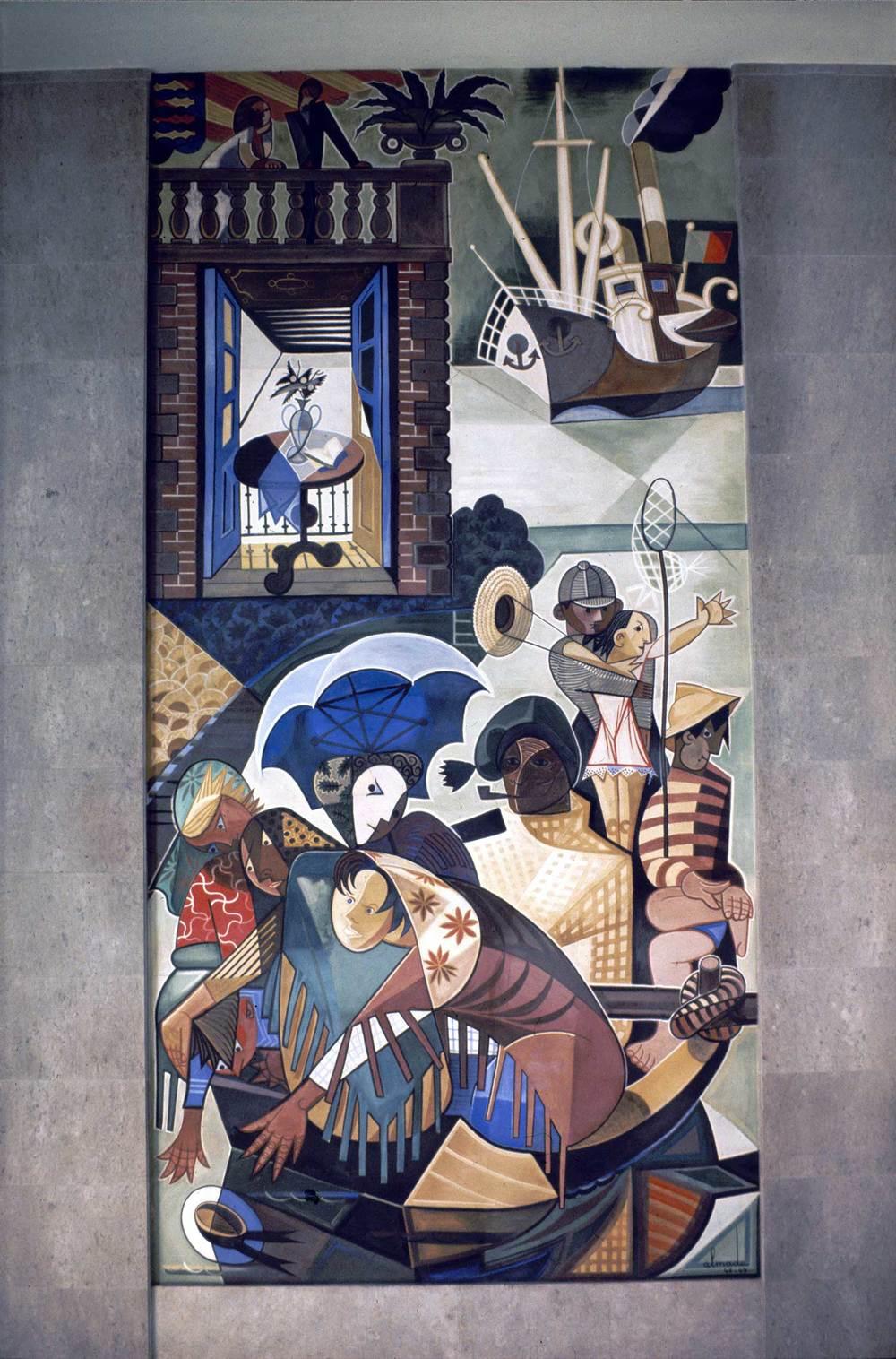 Gare Marítima da Rocha do Conde de Óbidos, Lisbon Artist: José de Almada Negreiros  Photo: Mário Novais, ca. 1943-1945, Lisbon  [CFT003_098029]