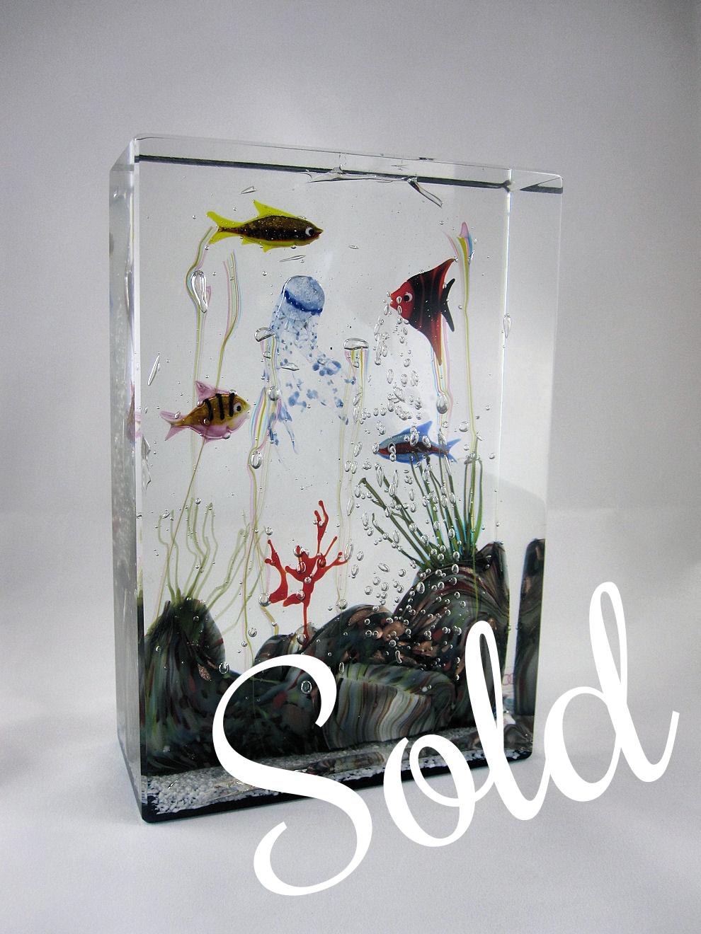 Large Oggetti Murano Glass Aquarium Sculpture By Elio