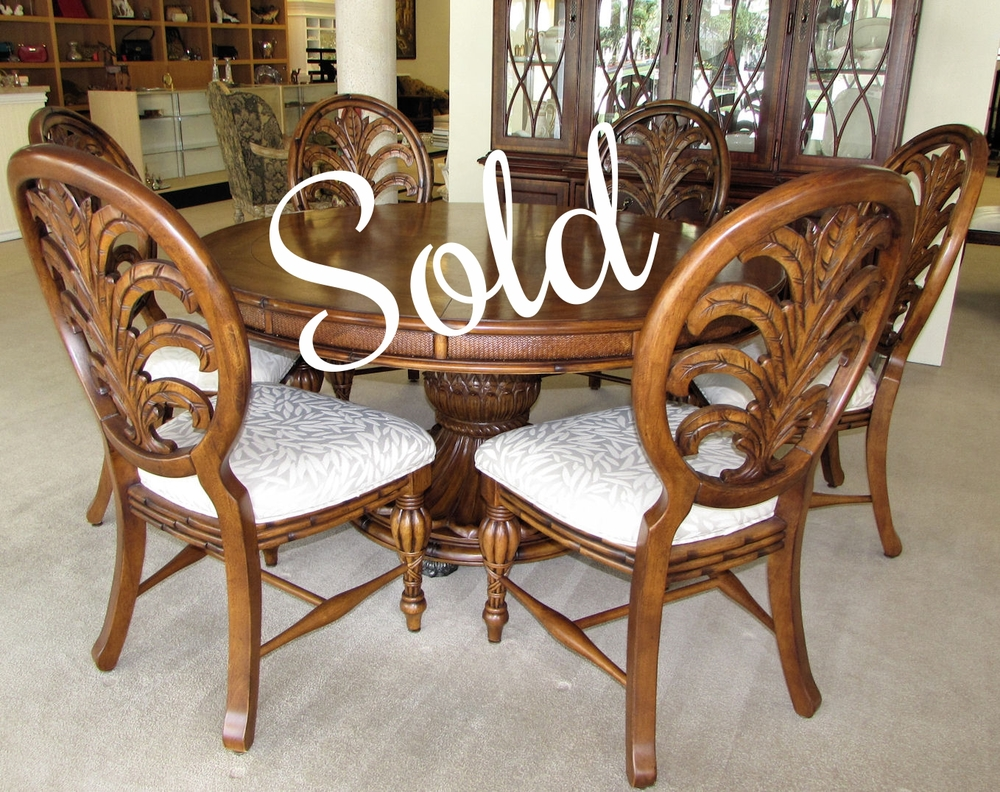 tommy bahama island style dining room set 60 round pedestal table