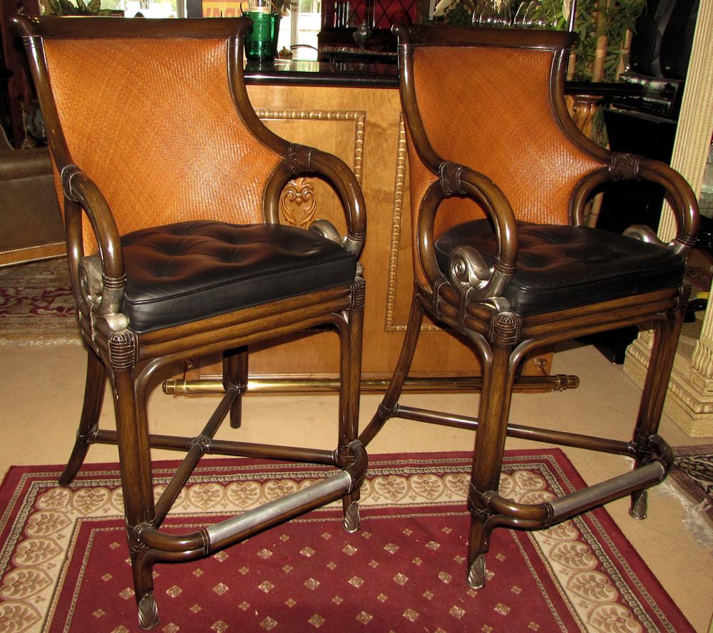 Pair of Maitland Smith Barstools