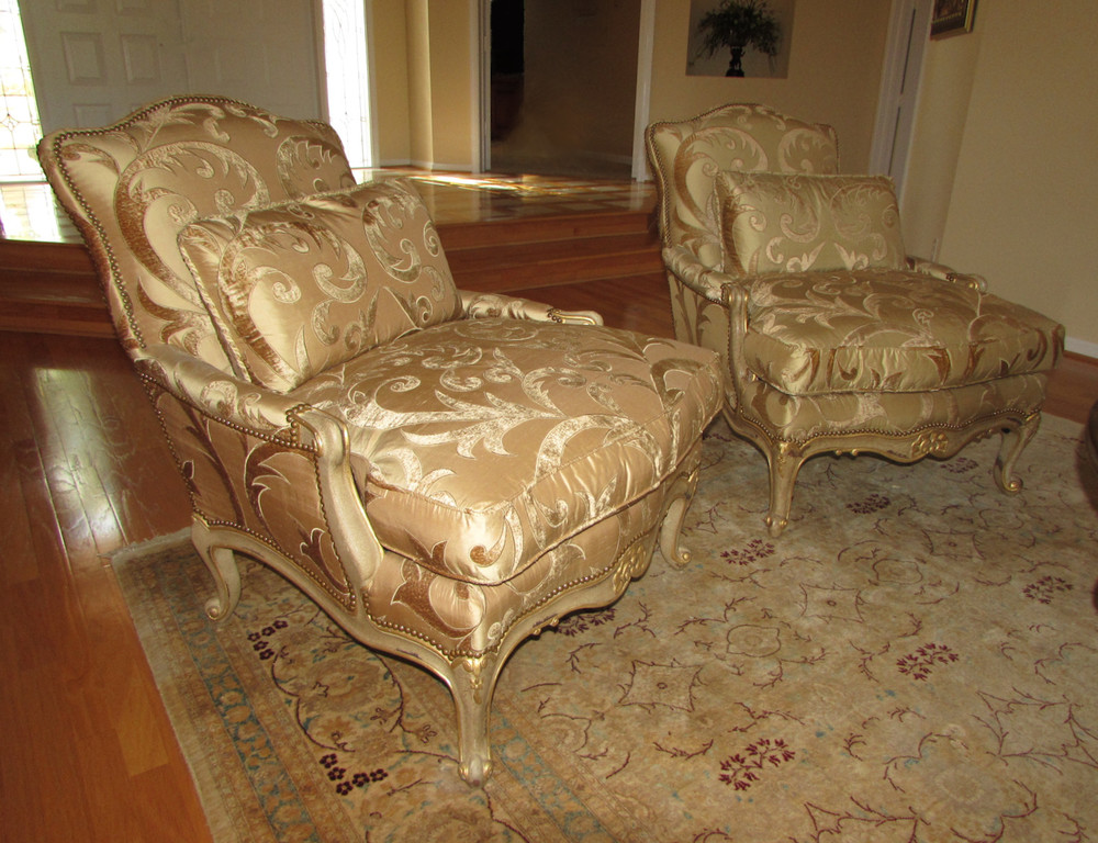 Pair of EJ Victor French Bergere Chairs