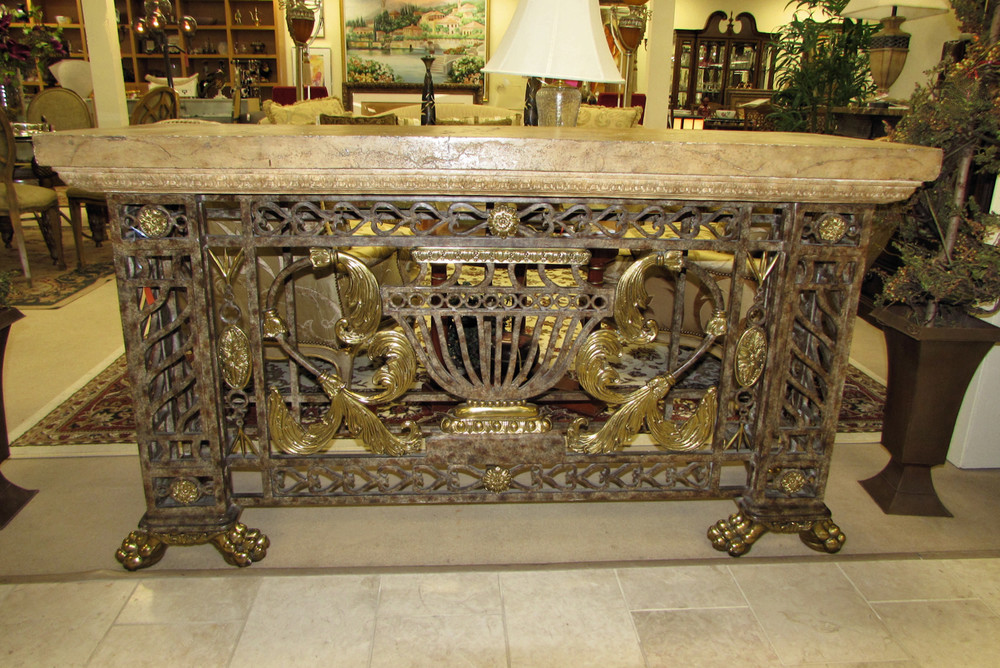 Maitland Smith Iron and Brass Console Table