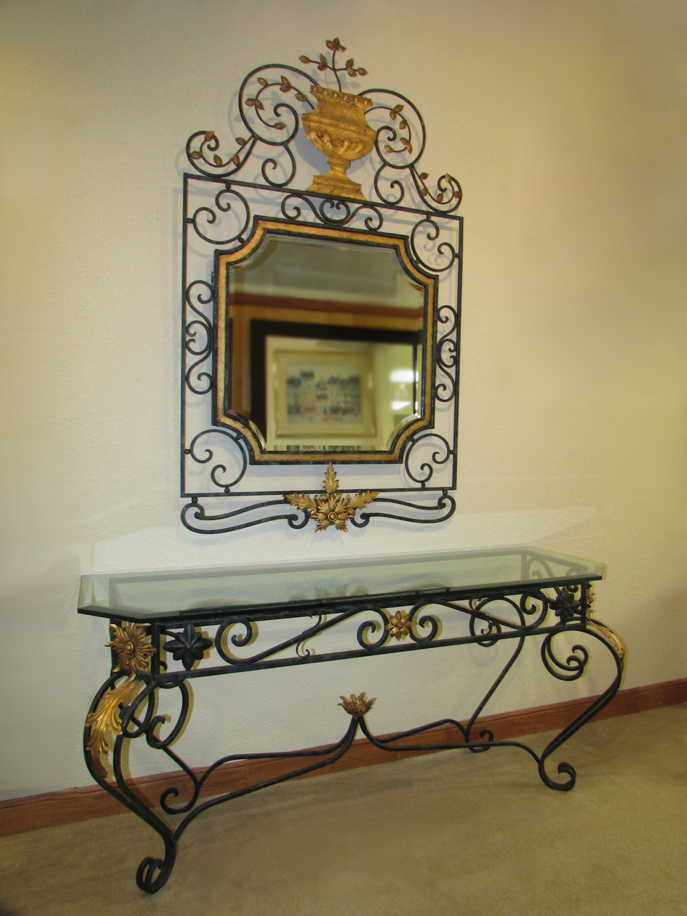 LaBarge Iron Console Table and Mirror with Gilt Trim
