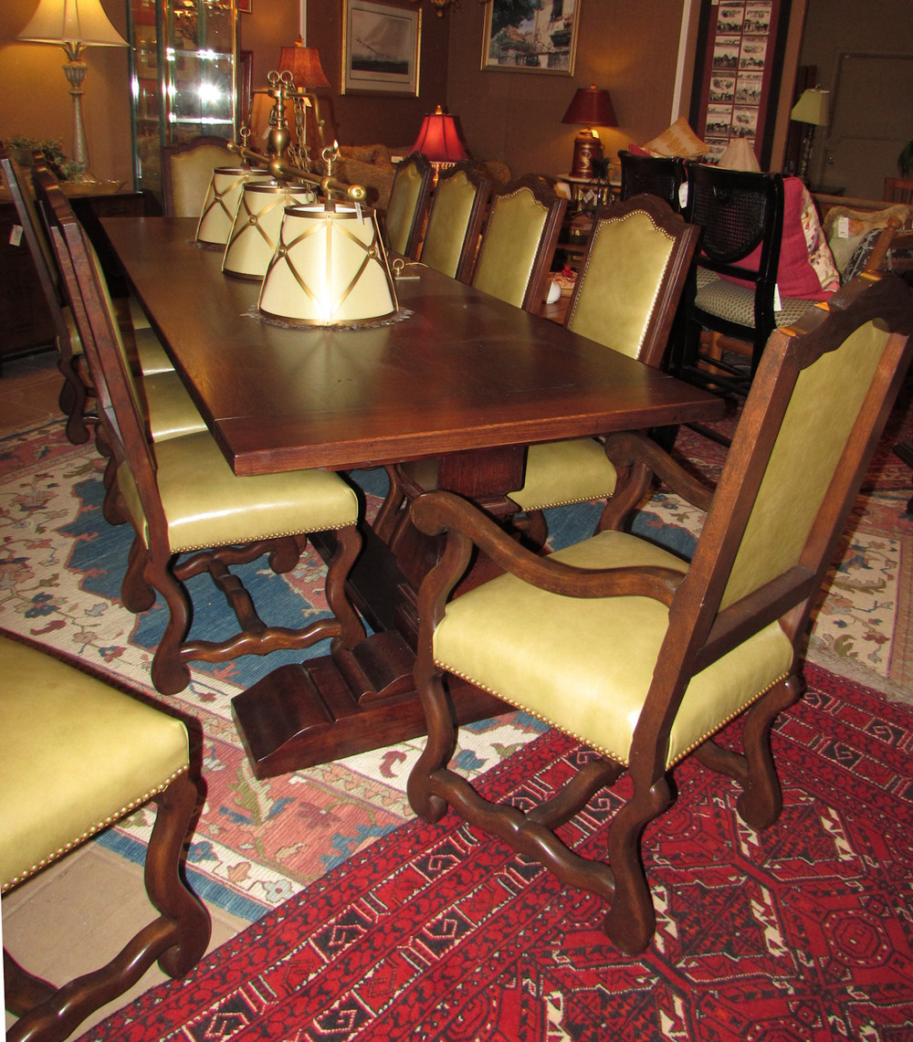 Collection Reproduction Old World Bench Made Dining Table With 12 Leather  Chairs