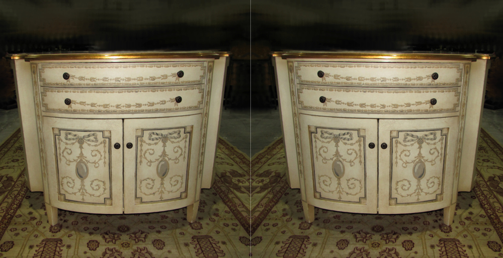 French Hand Painted Demilune Half Moon Rounded Chests Nightstands
