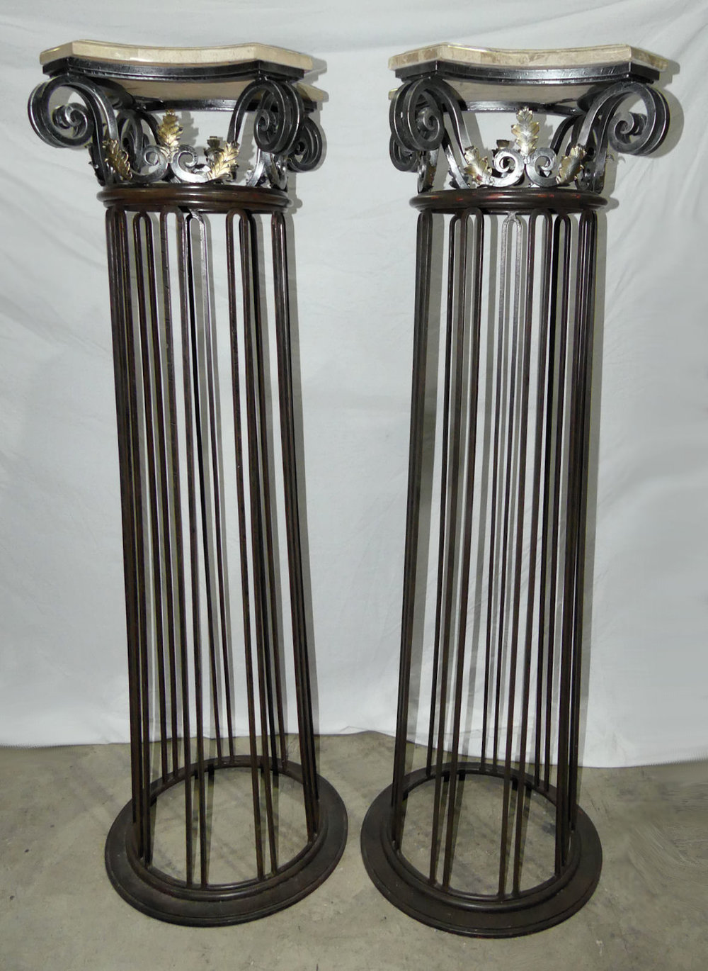 Pair of 2 Maitland Smith Style Tall Marble Top Iron Pedestals  $1,400