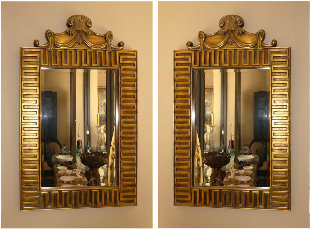 "Pair of 2 Greek Key Decorated Gilt Mirrors  34""x 57"" $995"