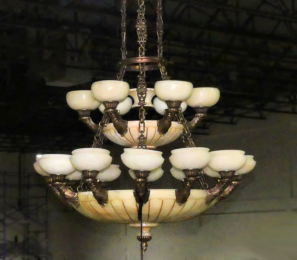 Large Alabaster and Bronze Chandelier   REDUCED: $5,200  / Originally: $6,800