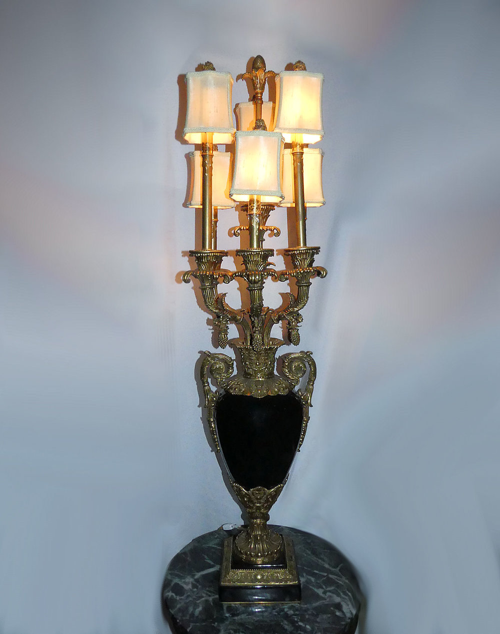 John Richard Porcelain and Brass Table Top Torchier Lamp or Candelabra  $1,700