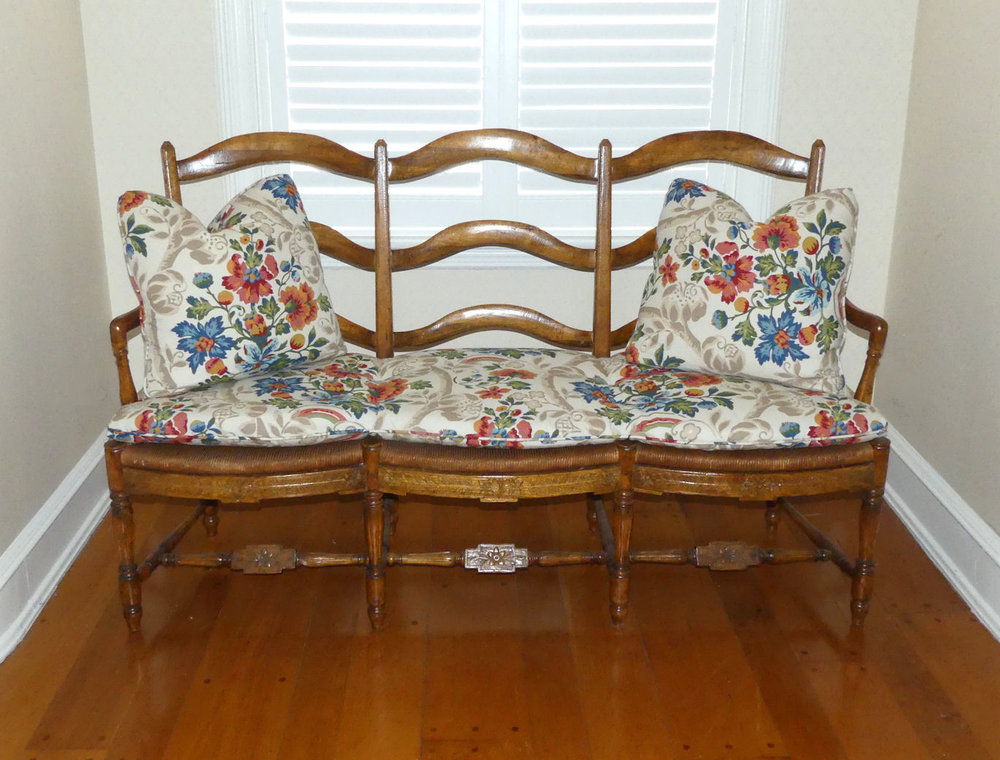 French Country Rush Seat Bench or Settee  $1,195