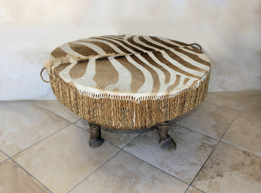 African Zebra Hide Drum Table  $800