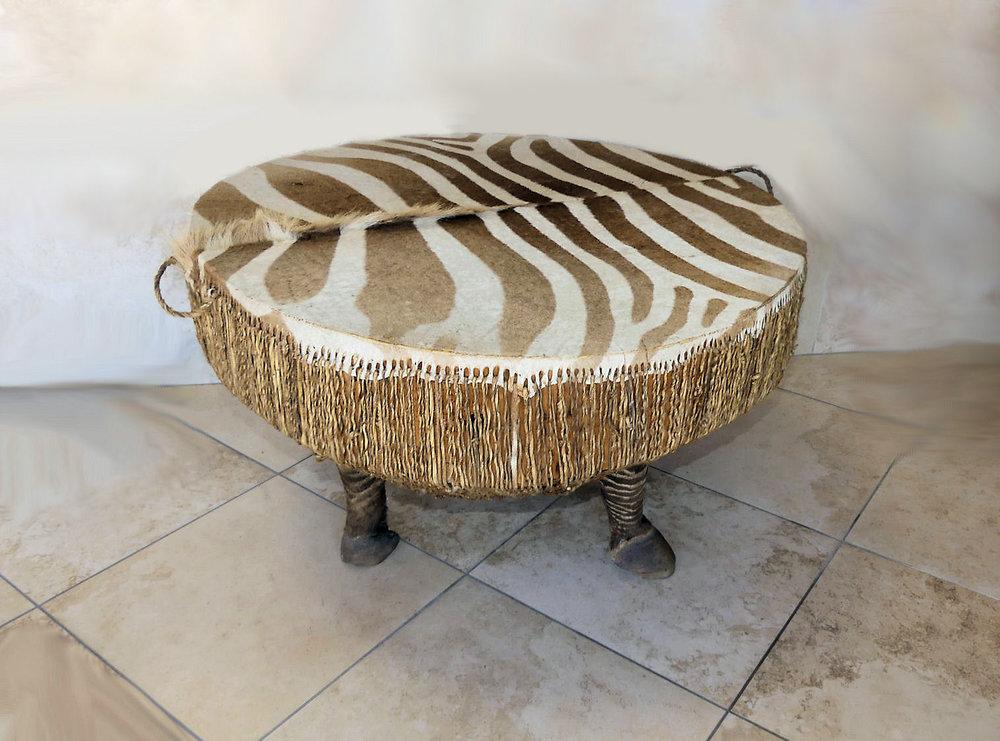 SOLD African Zebra Hide Drum Table