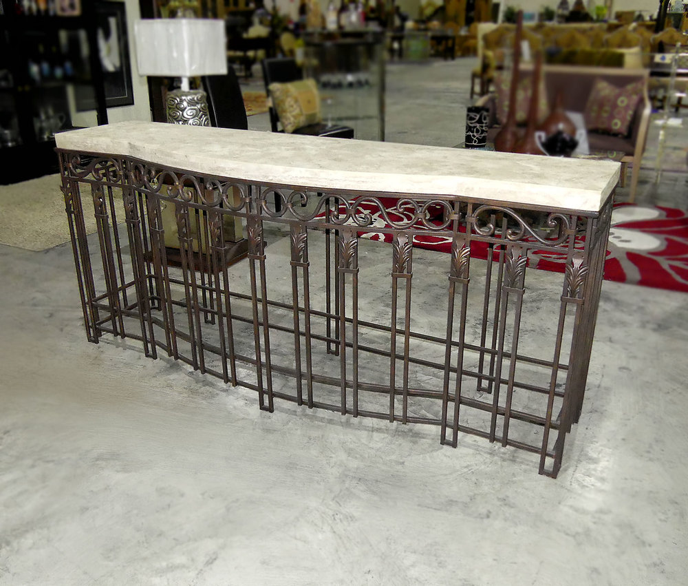 SOLD  Stone Top Iron Console Table