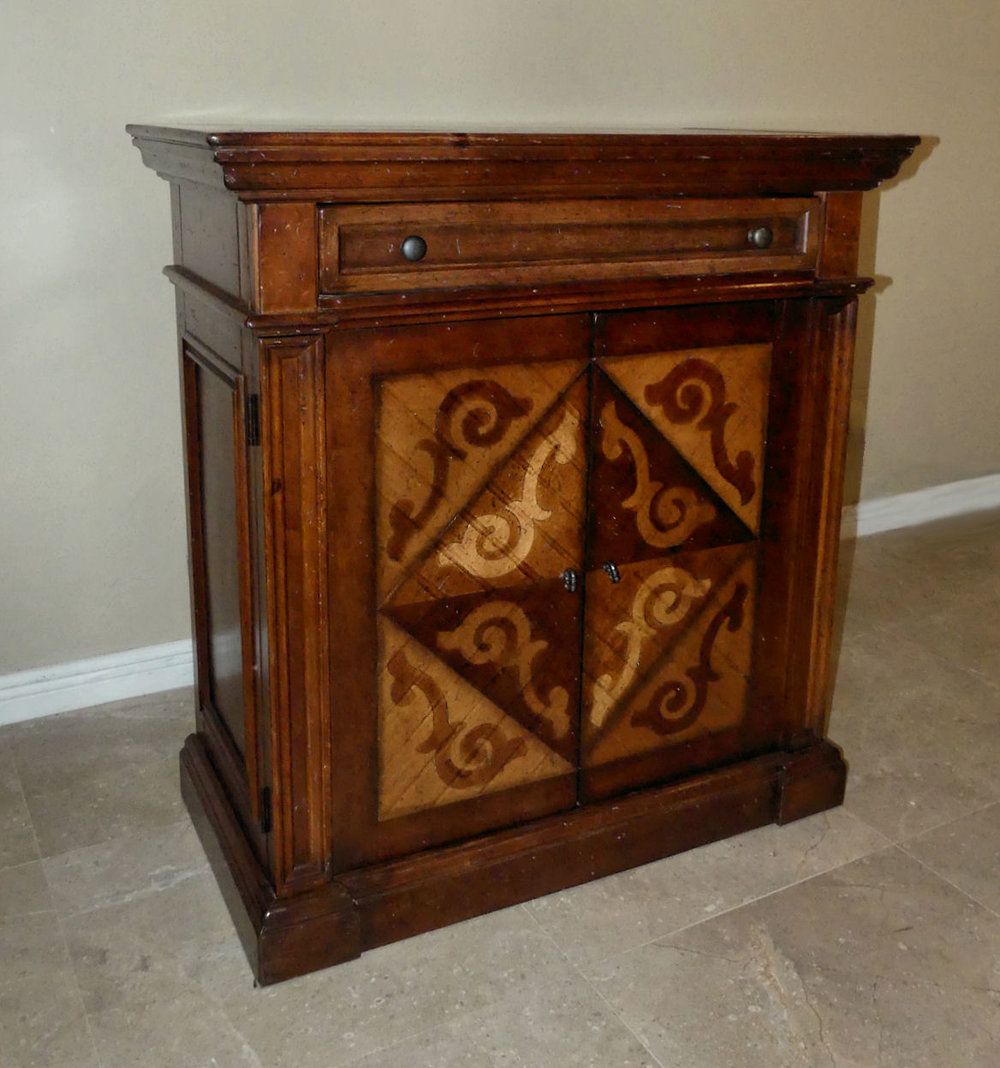 Old World Style Marquetry Inlaid Wood Wine Cabinet  $950