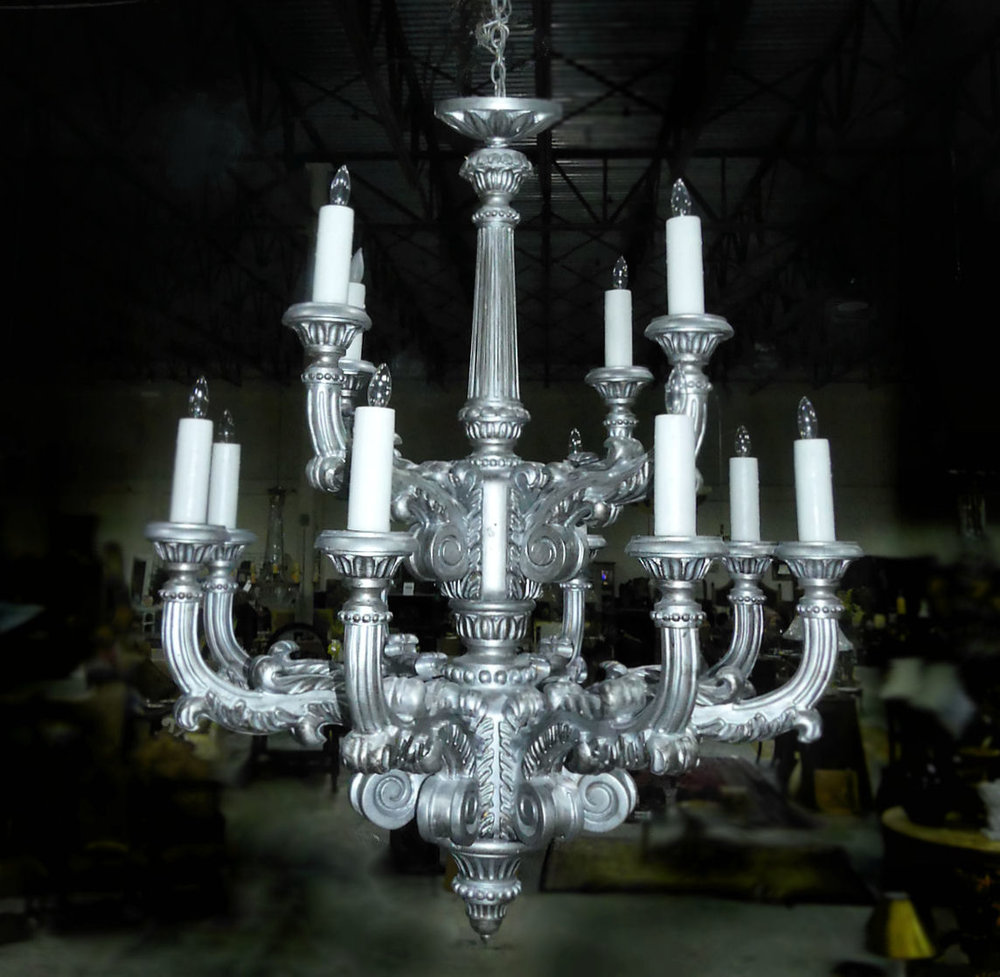 Arte De Mexico Hand Carved Wood Chandelier Antique Silver Wch 01