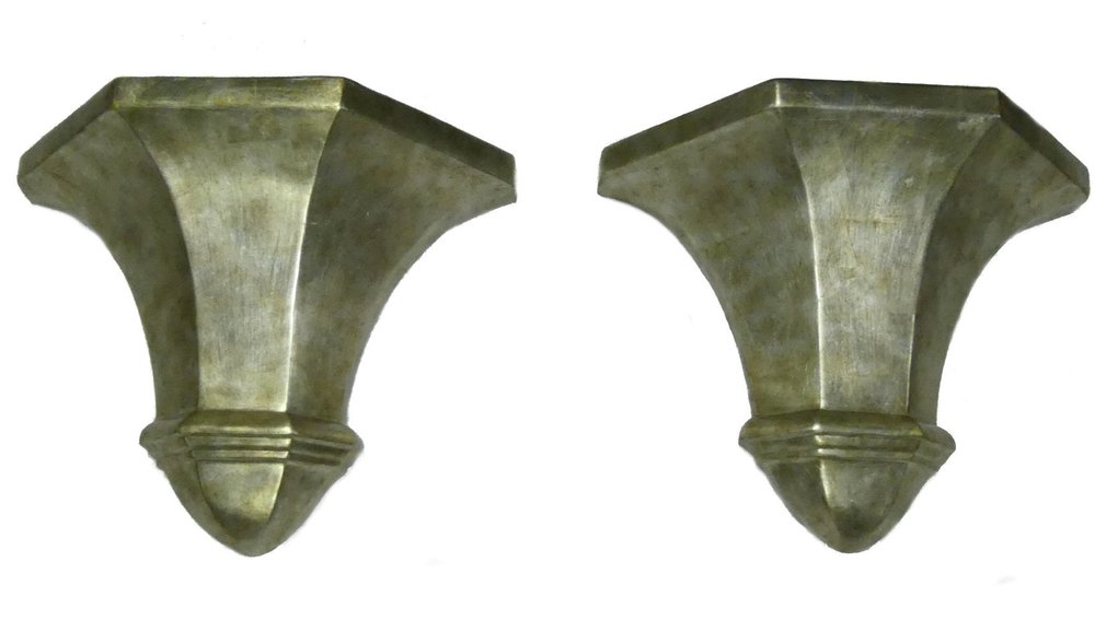 Pair of Decorative Silver Leaf Wall Sconces  $950