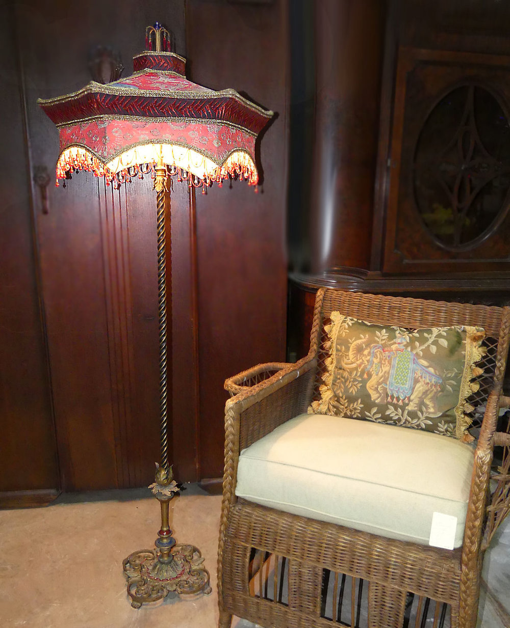 Kathleen Caid Asian Chinoiserie Brass & Silk Floor Lamp  $4,900 (Make Offer Available)