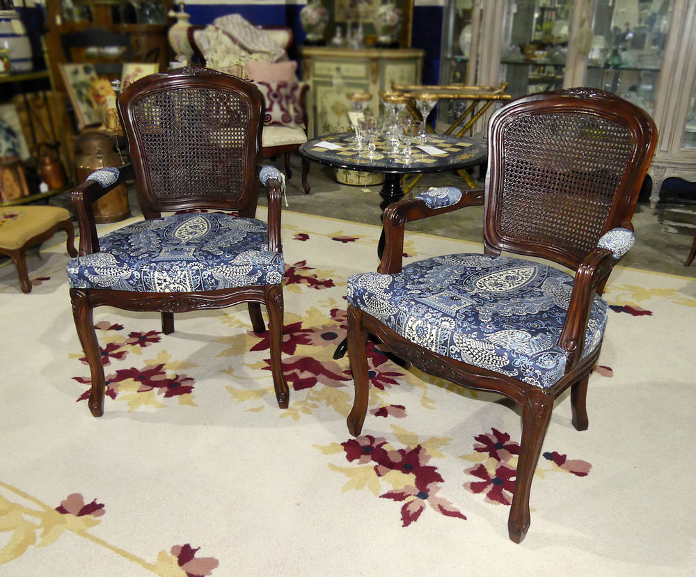 SOLD  Pair of 2 French Louis XV Caned Back Armchairs