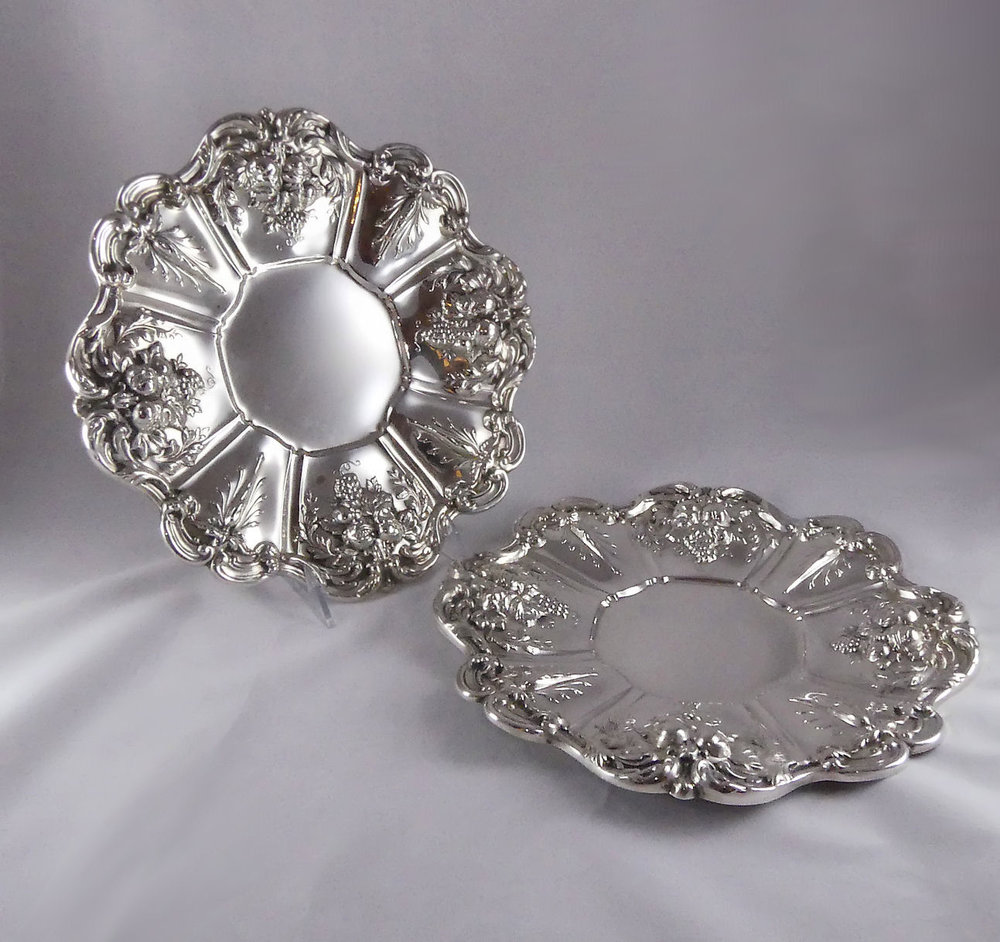 SOLD  Reed & Barton Francis I Sterling Silver Pair 2 of Sandwich Plates