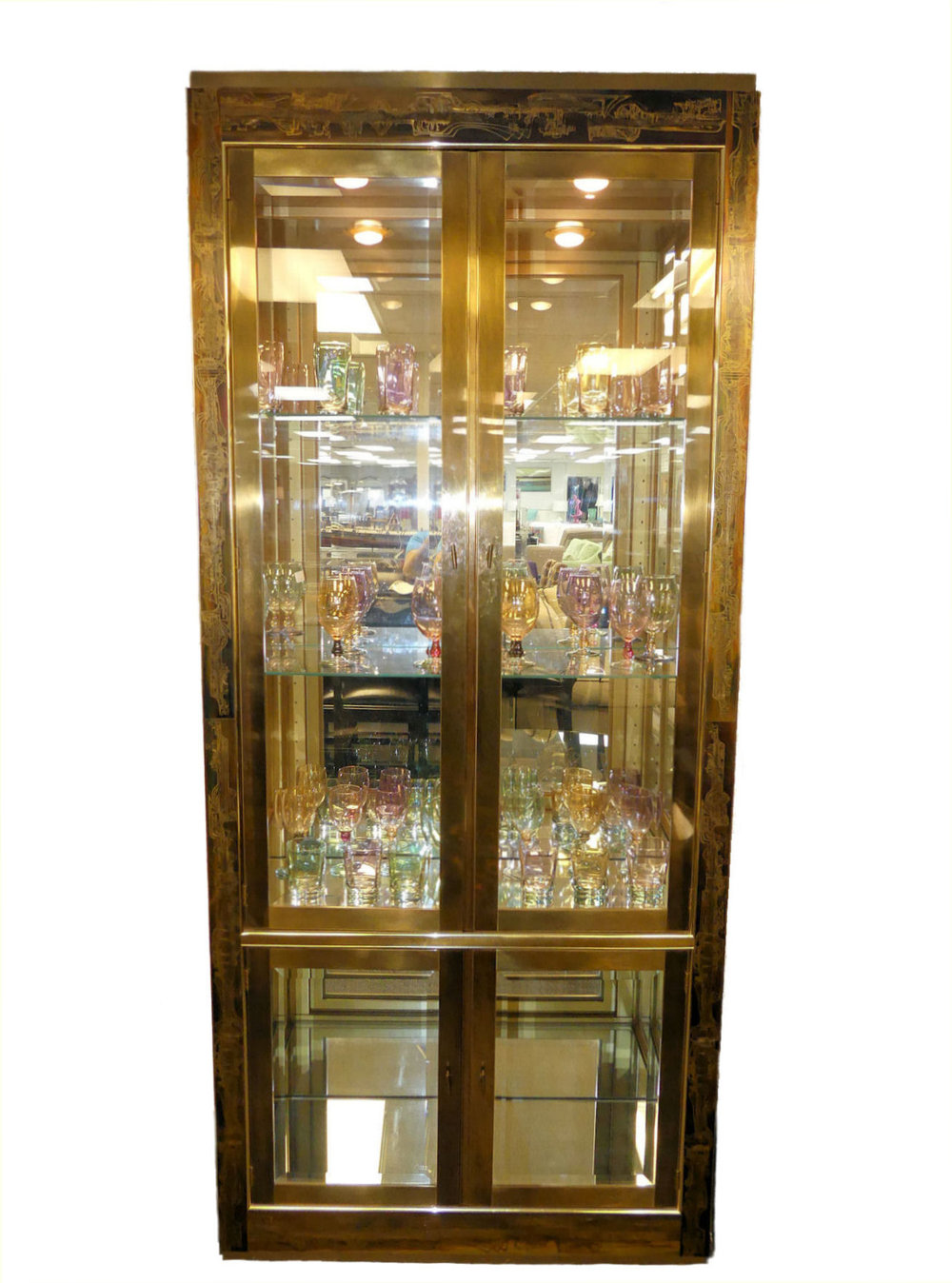 SOLD Mastercraft Etched Brass Curio Display Cabinet