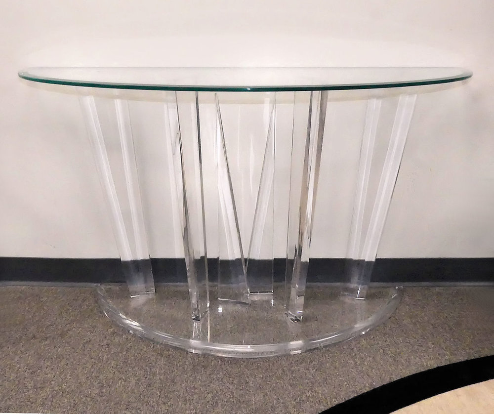 SOLD  Signed Vintage Muniz Lucite Console Table
