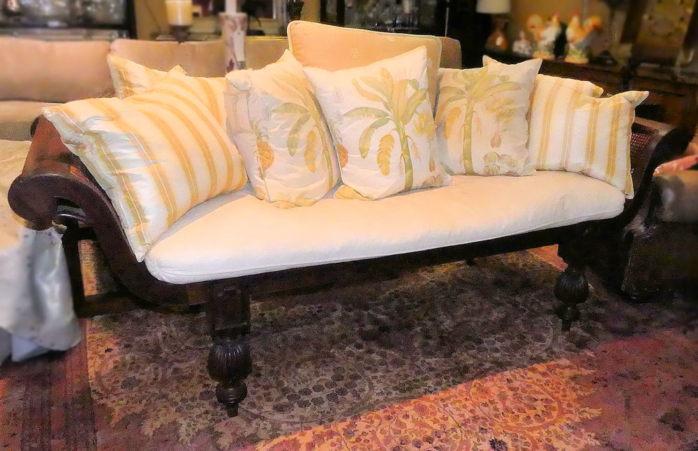 SOLD British West Indies Style Caned Seat Settee or Loveseat