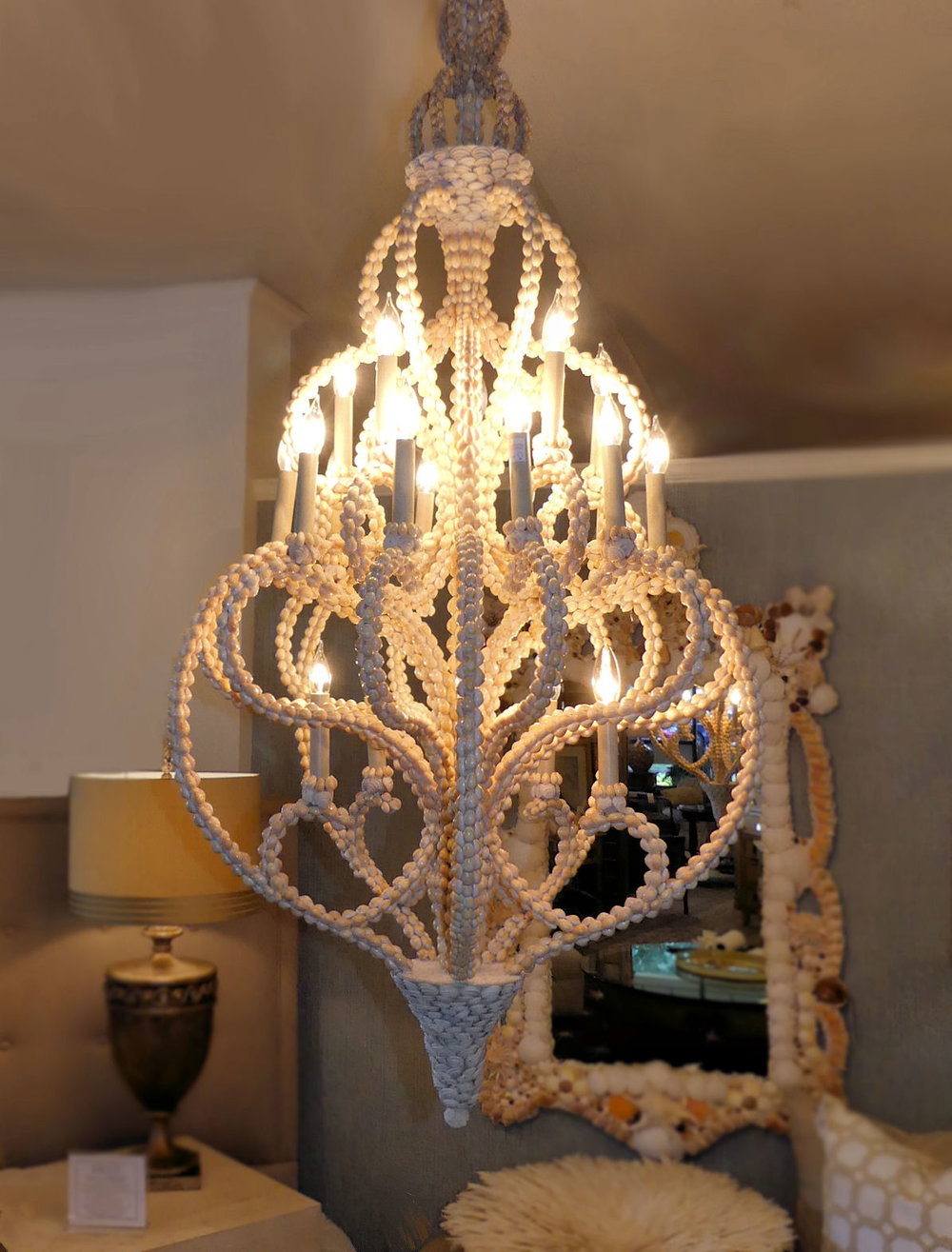 SOLD  Currey & Company Shell Encrusted Corniche Chandelier