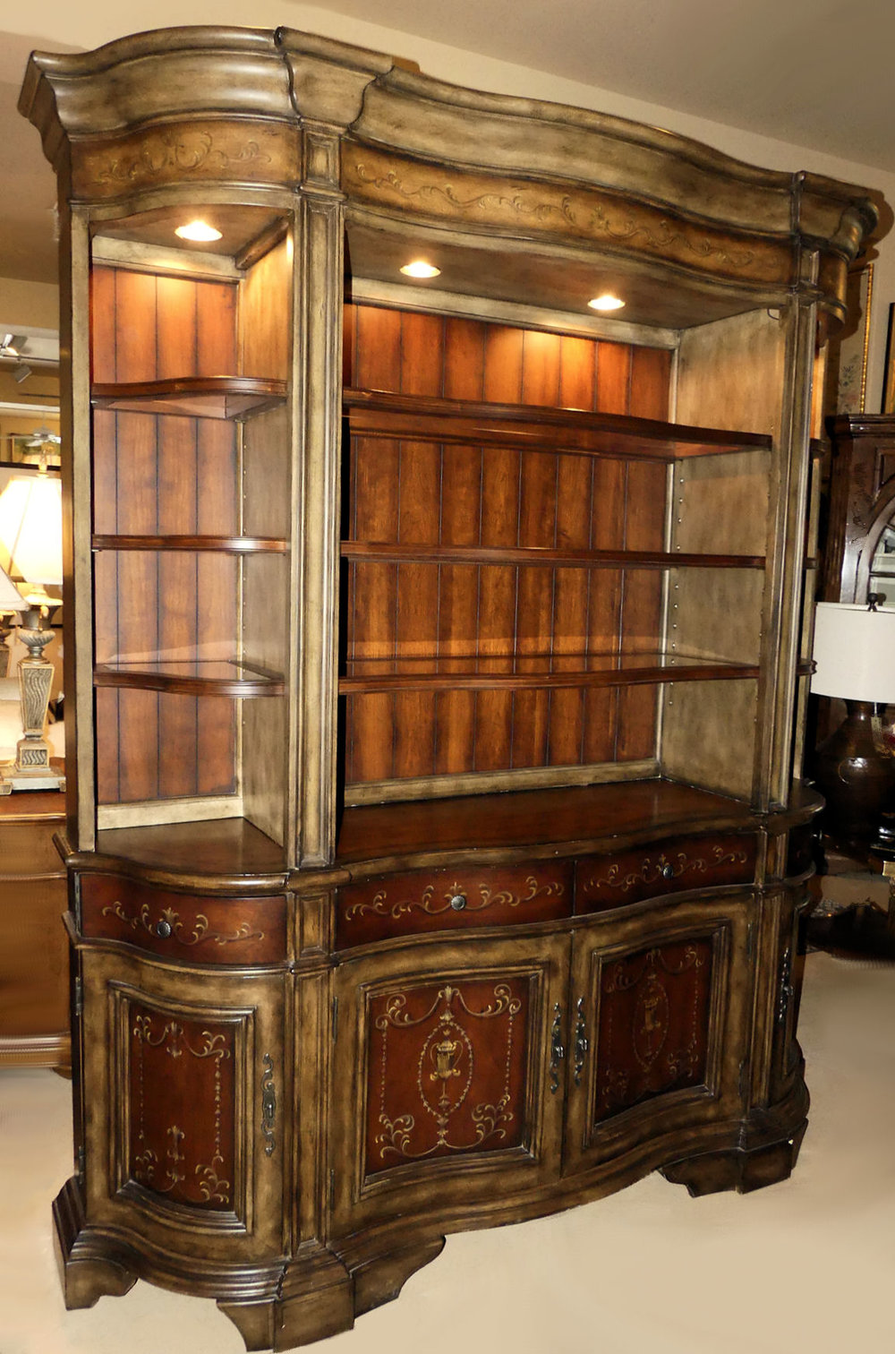 SOLD Hooker Seven Seas Serpentine Credenza with Lighted Hutch