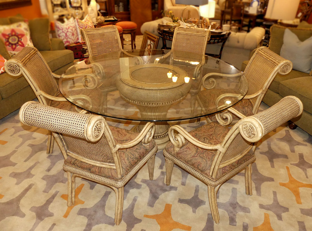 SOLD Exotic Cane and Rattan Dining Set Attributed to Maitland Smith