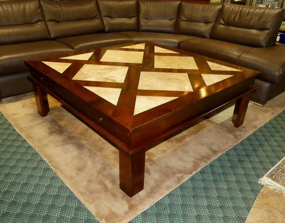 SOLD  Grange Cherry and Travertine Cocktail or Coffee Table