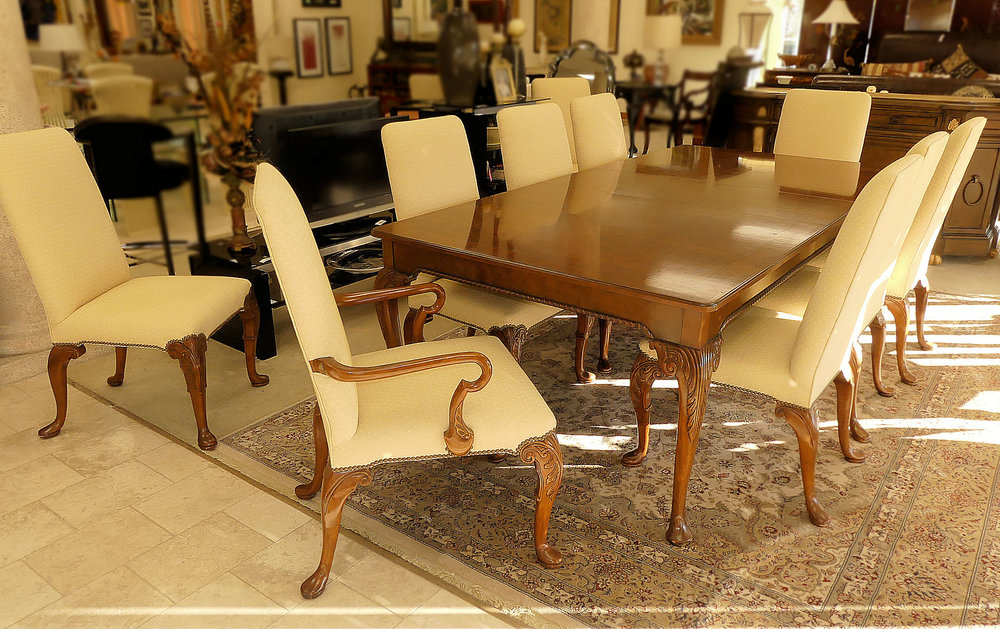 SOLD  Baker Furniture Stately Homes Room Set - Table . 4 Leaves . 12 Chairs