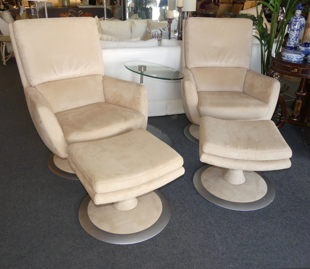 SOLD 2 W. Schillig High Back Swivel Chairs and Ottomans