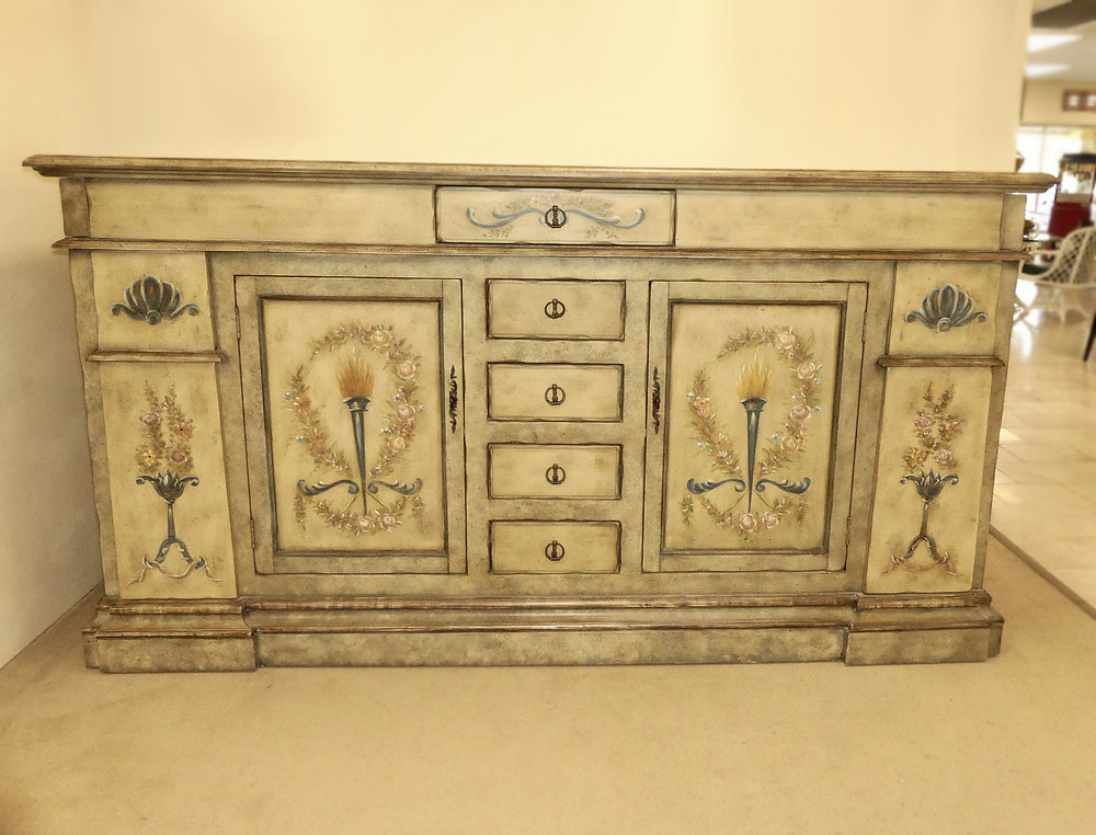 SOLD Hand Painted Sideboard . Buffet . Credenza
