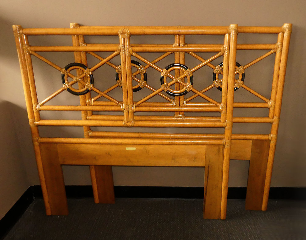 Pair of 2 McGuire Bamboo and Laced Rawhide Twin Size Headboards  $800