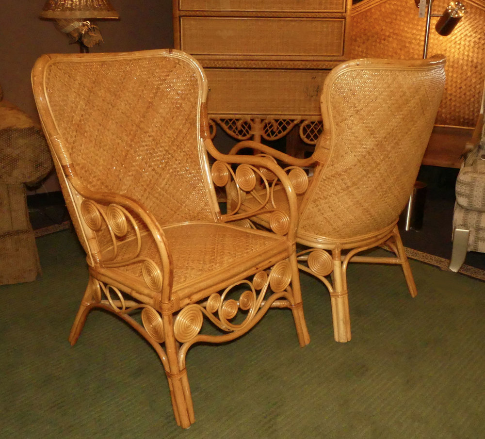 SOLD  Pair of 2 Tropical Island Style Bamboo & Rattan Armchairs