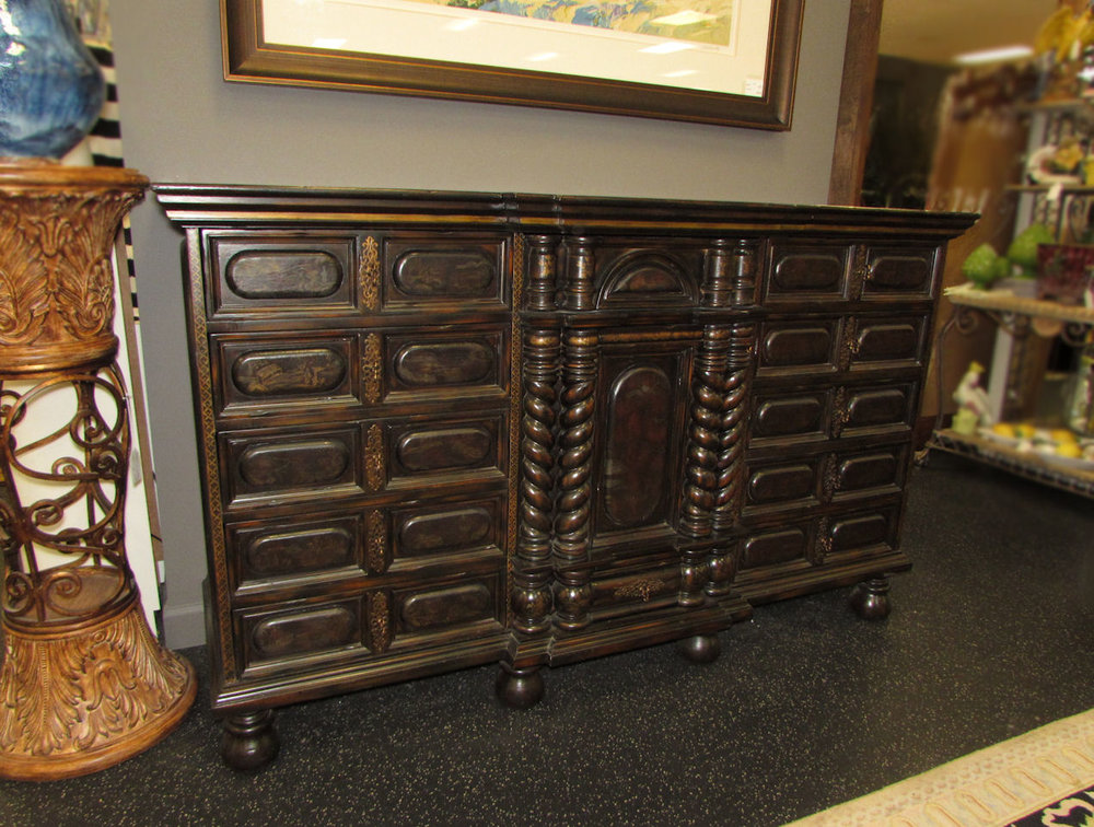 SOLD  Maitland Smith Leather Top Sideboard