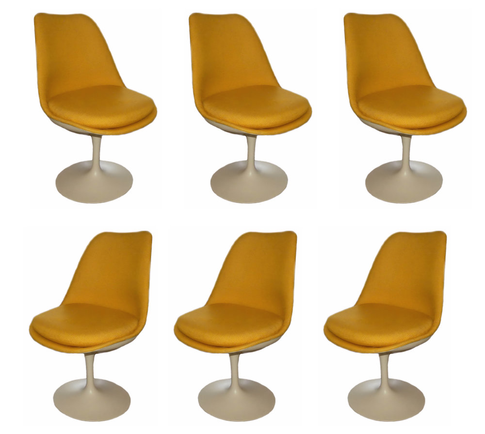 SOLD  Rare Set of 6 Fully Upholstered Knoll Saarinen Tulip Chairs, 1973