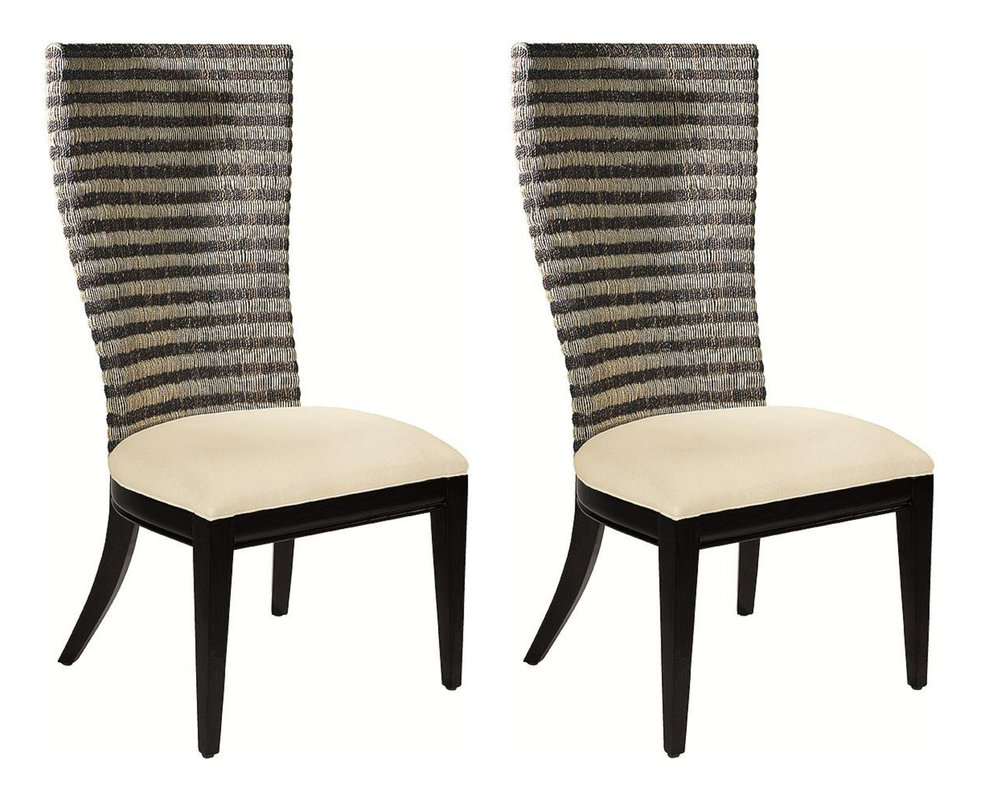 Pair of 2 Artistica Bento Woven Back Tropical Tommy Bahama Style Dining Chairs  Retail: $2,400 / Our Price: $700