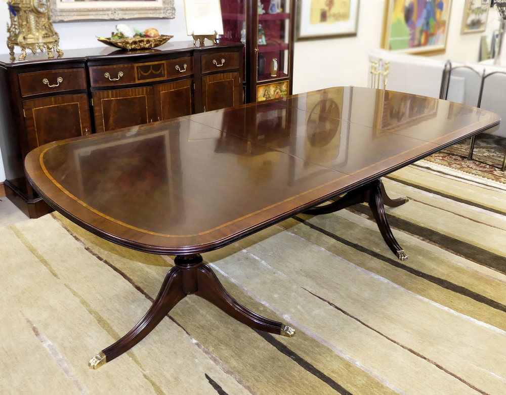 SOLD  Henkel Harris Double Pedestal Mahogany Dining Table